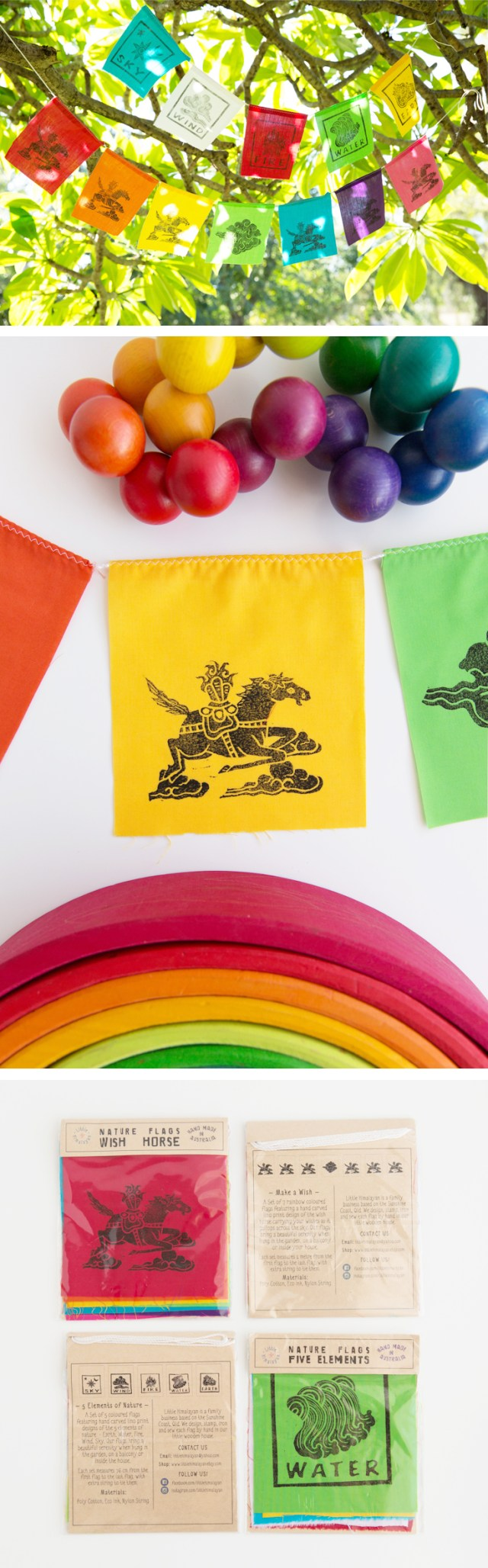 Modern Tibetan Prayer flags by Little Himalayan add a splash of rainbow colour to your garden, patio, balcony or children's room
