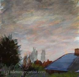 Acrylic sky over back garden