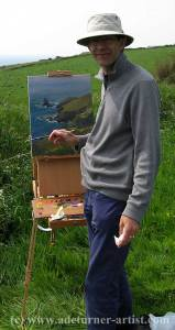 Ade Turner painting at the Lizard