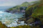 Plein air acrylic sketch - evening mist at Church Cove