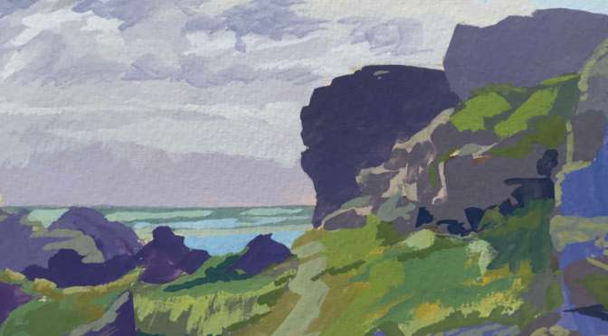 Gouache Plein air sketch of Pen Olver headland on the Lizard Peninsular, Cornwall.