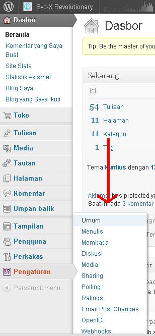 Dasbor wordpress