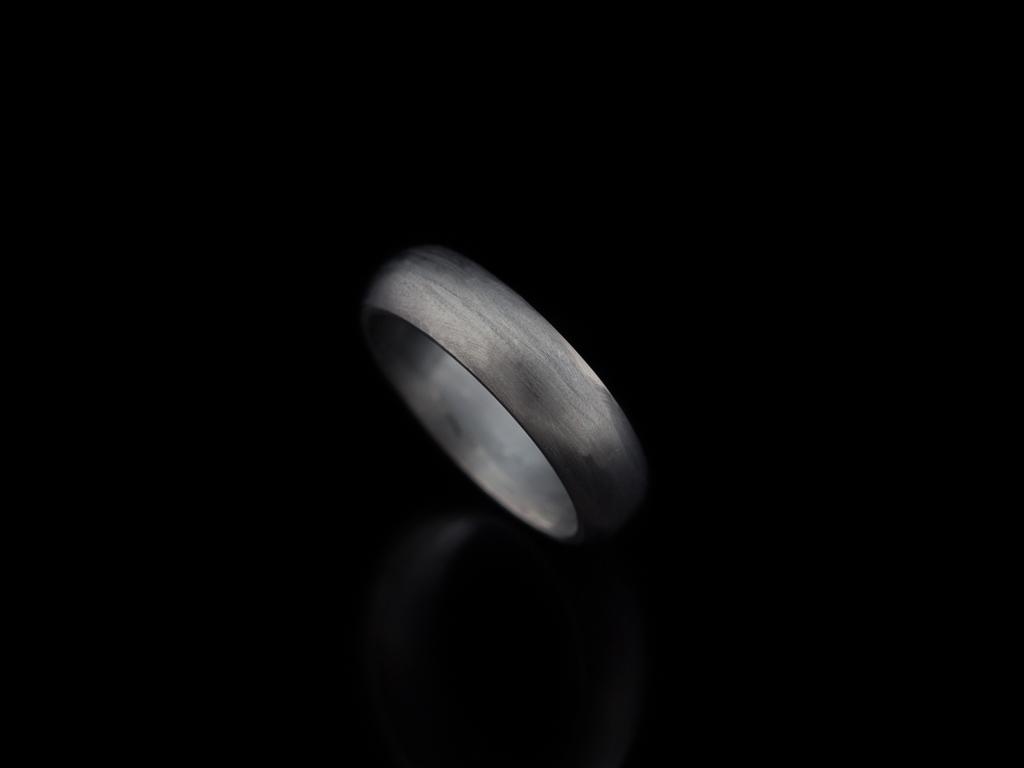 Black Rhodium Ring Sterling Silver Matt Dark Men Classic Matte