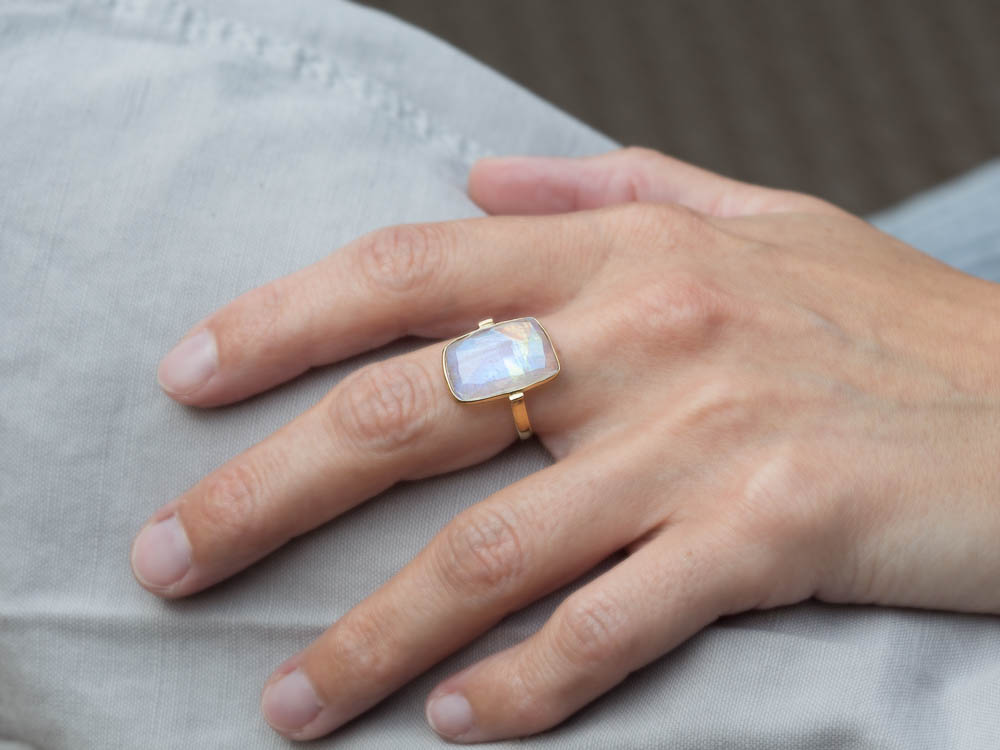 MOONBOW Rainbow Moonstone Ring Gold Vermeil Made To
