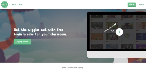 GoNoodle Website for Teachers