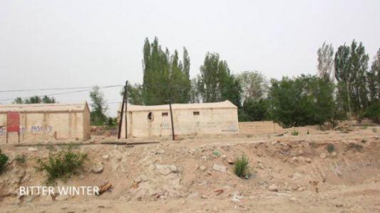 图七:被拆毁的清真寺在图中两个房子的后面,距离马路约有一百来米