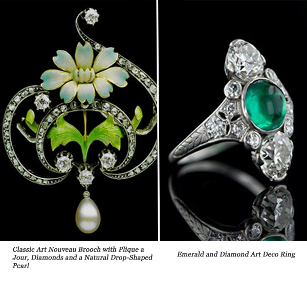 Art Nouveau and Art Deco Jewelry Examples, Images Courtesy of Lang Antiques & Alson Jewelers