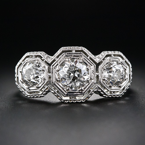 Art Deco 3-Stone Engagement Ring, Image Courtesy of laantiques.com