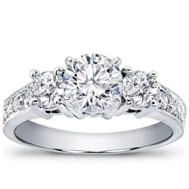 3-Stone Diamond Engagement Ring with Pave Accents by Adiamor