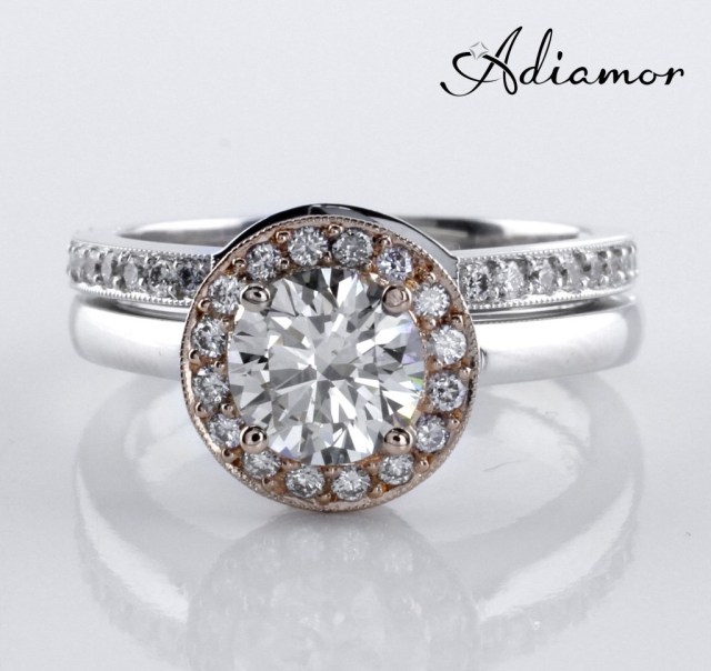 Two Toned Halo Ring with Matching Curved Wedding Band
