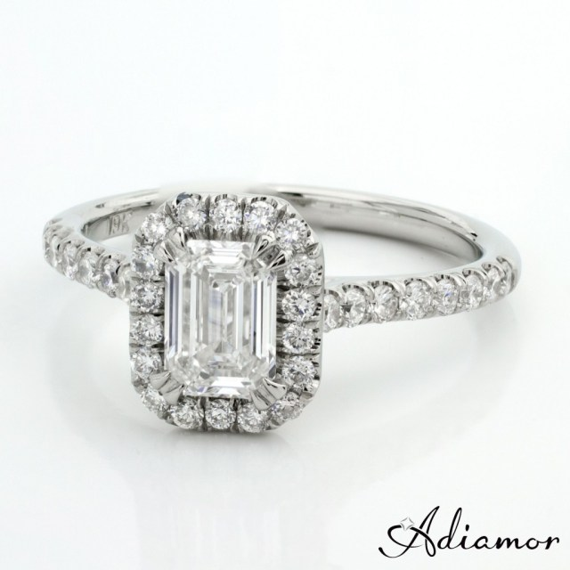 Custom Emerald Cut Diamond Halo Engagement Ring