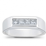 platinum diamond wedding band for men