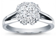 Petal Halo Diamond Engagement Setting 18K White Gold