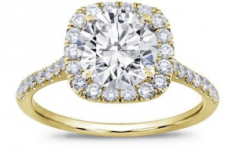 French Cut Cushion Halo Setting 18K Yellow Gold