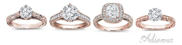 Milgrain and Hand Engraved Rose Gold Engagement Rings