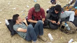refugiati se uita pe tableta