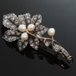 French Victorian branch and leaf brooch with rose cut diamonds and pearls