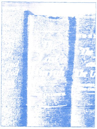 """23 weeks, blue transfer paper on paper, 8"""" x 6"""", 2016"""