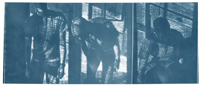 """Code, cyanotype contact prints of graphite drawings on vellum, 10"""" x 23.5"""", 2015"""