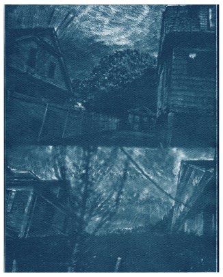 "Highland Ave 2, cyanotype contact print of graphite drawing on vellum, 10"" x 8"", 2015"