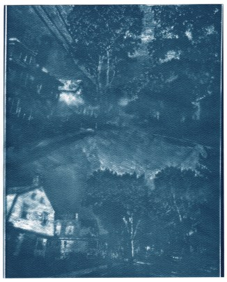 """Highland Ave, cyanotype contact print of graphite drawing on vellum, 10"""" x 8"""", 2015"""