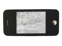 "iPhone 12, graphite on vellum with black paper, staple, and thumbtack, 2.25"" x 4.75"", 2014"
