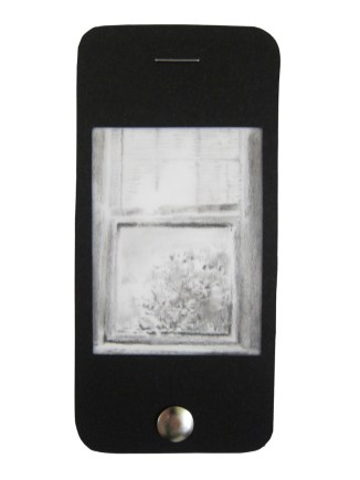 "iPhone 7, graphite on vellum with black paper, staple, and thumbtack, 4.75"" x 2.25"", 2014"