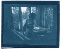 "Stretch, cyanotype contact print of graphite drawing on vellum, 8"" x 9.75"", 2015"