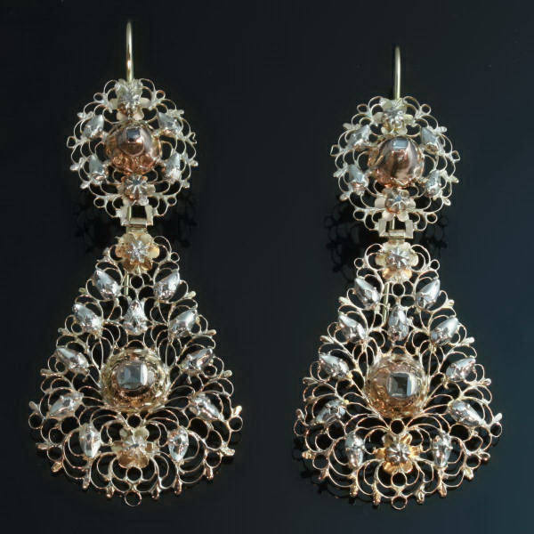 18th Century Georgian Earrings Table Cut Diamonds