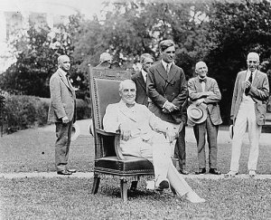 Harding in chair White House lawn LOC