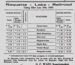 1900 raquett lake railway schedule_0