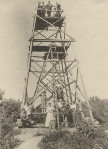 1912-18 First fire tower on Stillwater Mt. Built atop an Adirondack Survey signal tower. (Photo courtesy Maridee Rutledge.)