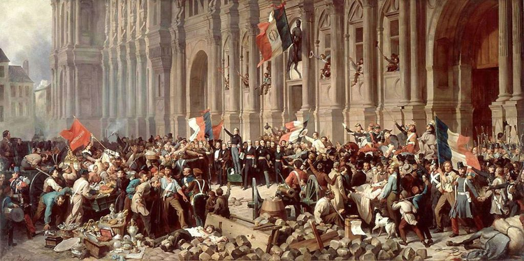 Lamartine, before the Hotel de Ville, Paris rejects the red flag of revolution and socialism on Feb. 25, 1848. By Henri Félix Emmanuel Philippoteaux , Public Domain