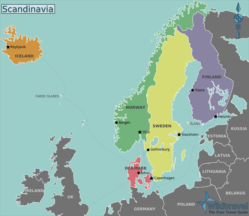 Scandinavian countries of Denmark, Norway, and Sweden