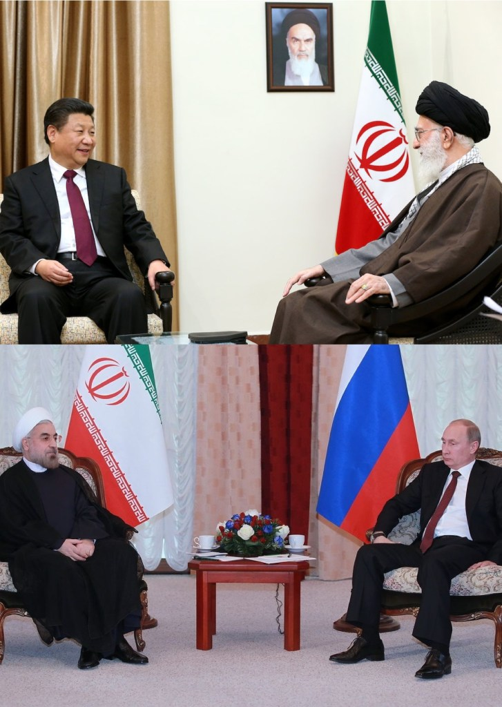 On top, Ali Khamenei, the Supreme Leader of Iran, meeting with Chinese President Xi Jinping on January 23, 2016. On bottom, Iranian President Hassan Rouhani meeting with Russian President Vladimir Putin on September 13, 2013. Iran, China, and Russia are all strategic allies.