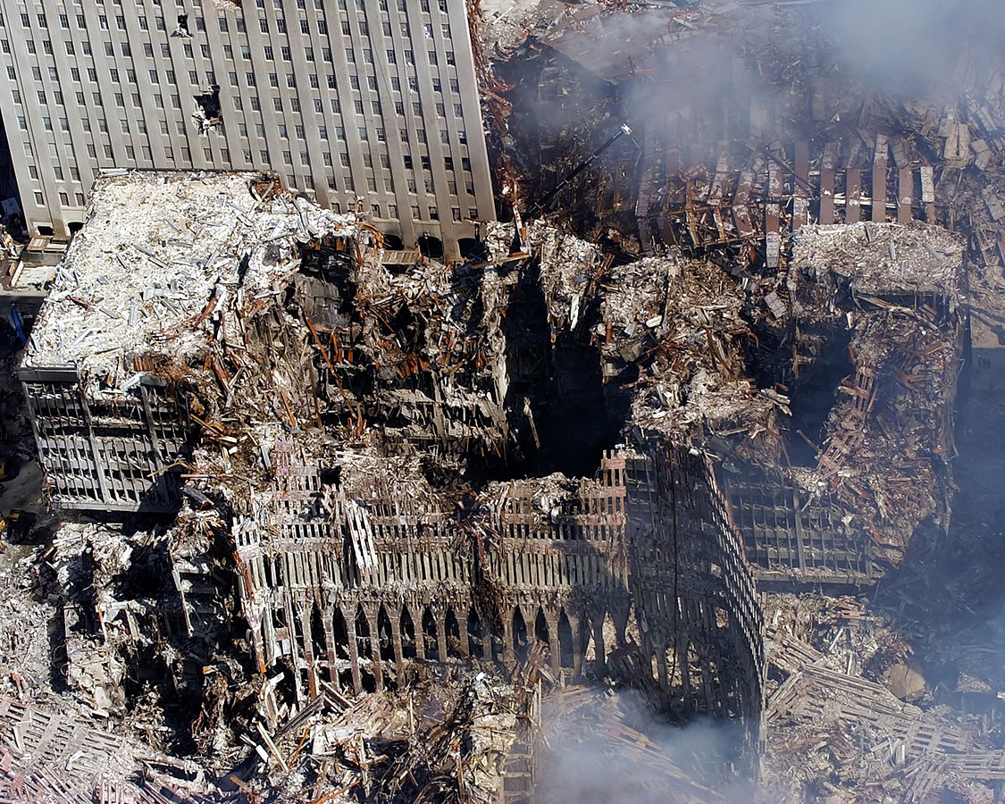 The remains of 6, 7, and 1 World Trade Center on September 17, 2001