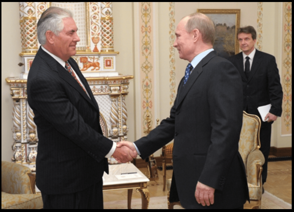 Secretary of State Designate Rex Tillerson, then ExxonMobil CEO, with President Vladimir Putin of the Russian Federation on April 16, 2012
