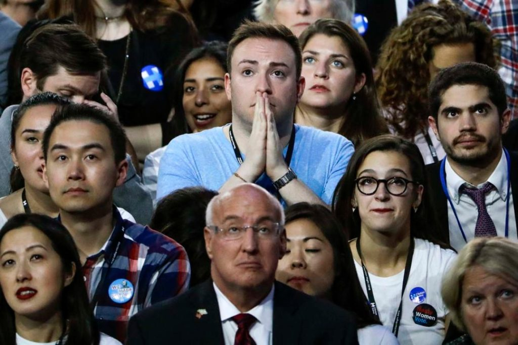 Democratic Party workers watching the presidential election returns in shock on the night of November 8, 2016.