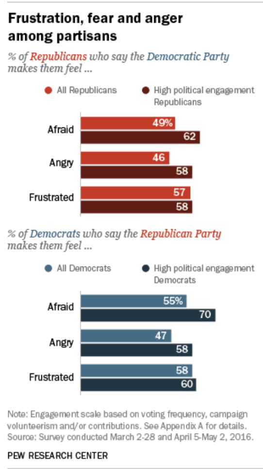 Expressions of frustration, fear, and anger for the opposite party are strong among partisans.