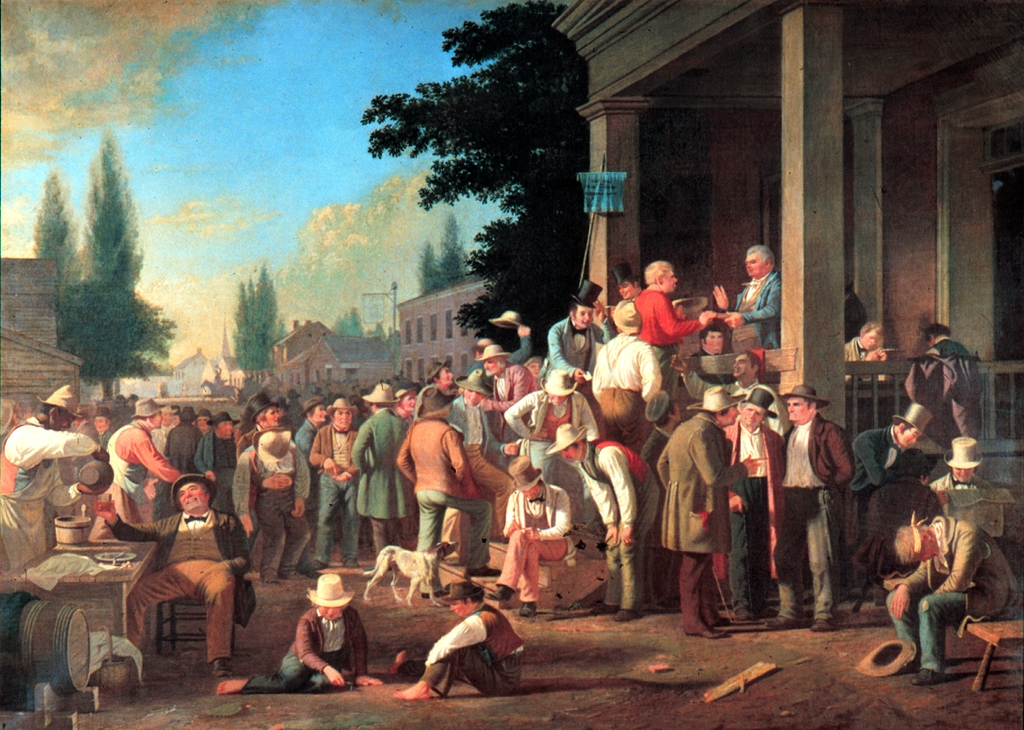 An 1846 painting by George Caleb Bingham showing a collection of voters before a polling place. A polling judge is administering an oath to a voter.