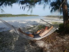 Relaxing at Rose Island - our own little paradise!