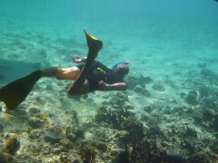 Steve snorkelling in Thunderball Grotto