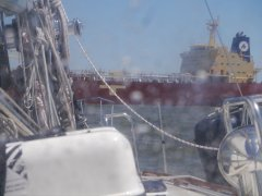 Freighter passing in front of us - Delaware Bay