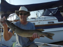 Steve catches a pike