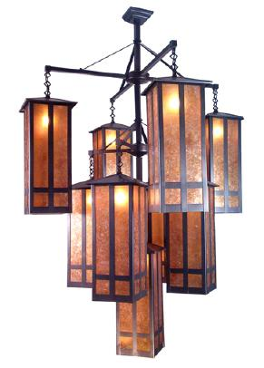 47 W 9 Light Chandelier Finished In Craftsman Brown With Amber Mica Total 88 5 182 H Max Watt 10 0x