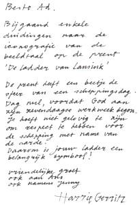 Uitleg van Harrie Gerritz bij de schets van de latere zeefdruk