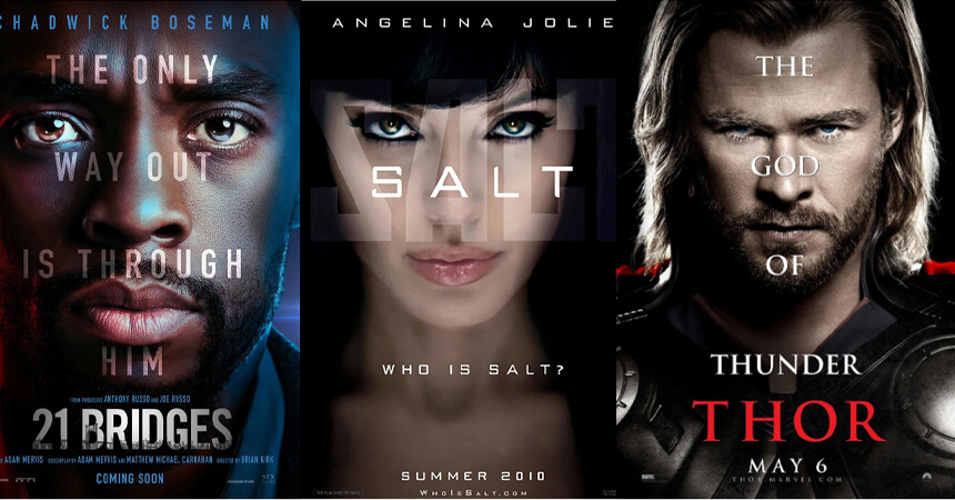 Big text on faces movie posters