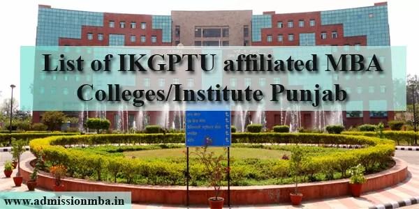 List of MBA Colleges Punjab affiliated IKGPTU