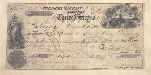 An undated photo of the the United States check for $7.2 million (or about $125 million in 2017 dollars ) to buy Alaska from Russia in 1867. Thursday, March 30, 2017, marked the 150th anniversary of Russia's sale of Alaska to the United States. (National Archives via The New York Times)