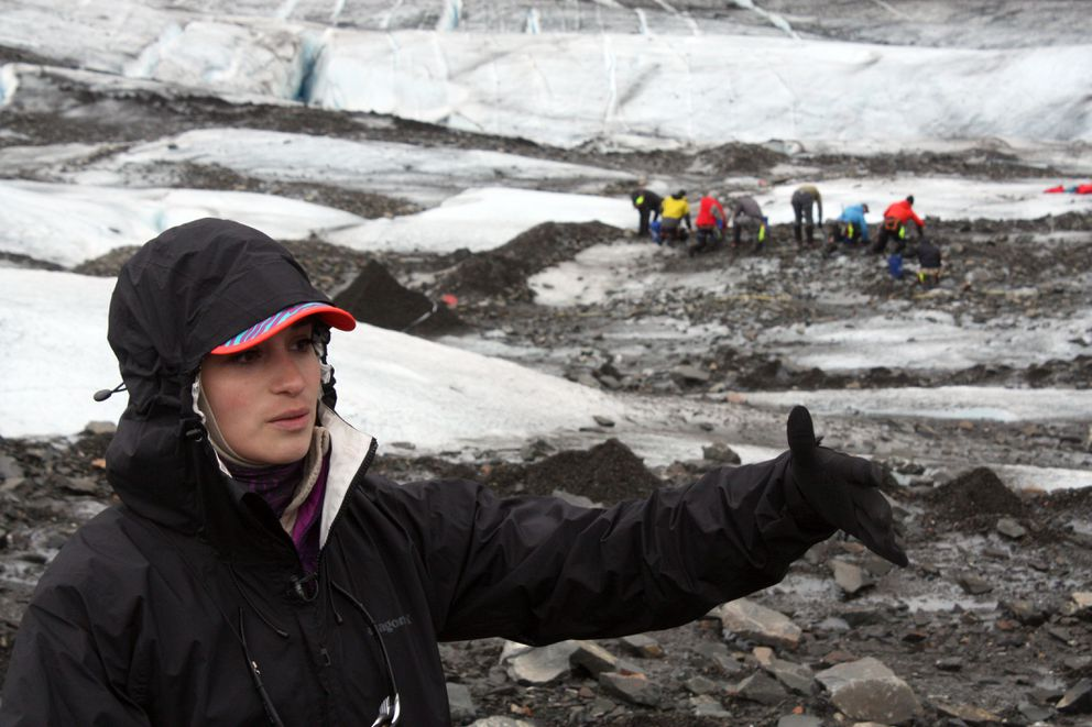 Capt. Victoria Martinez, a project lead with Air Force Mortuary Affairs Operations, discusses the military's efforts to comb Colony Glacier for debris. (Laurel Andrews / Alaska Dispatch News)